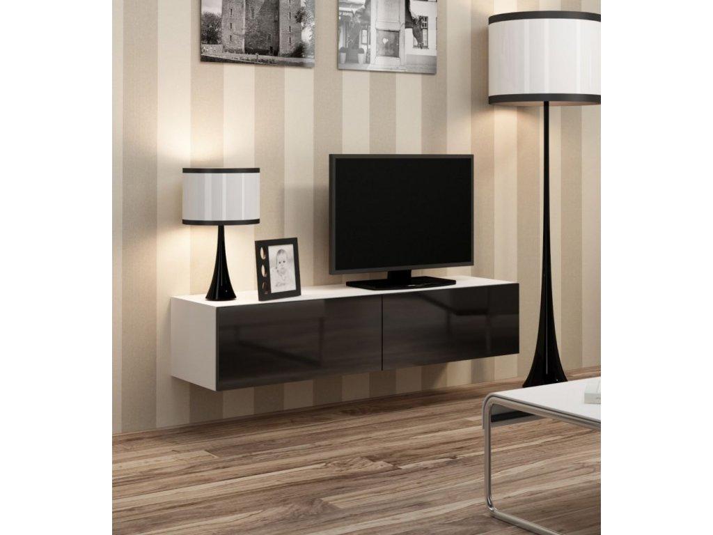 Artcam RTV stolík VIGO 140 Farba: biela/čierny lesk