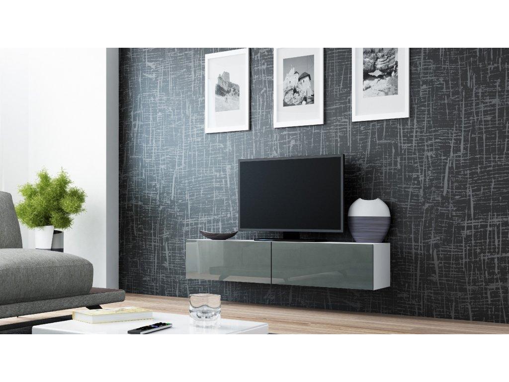 Artcam RTV stolík VIGO 140 Farba: Biela/sivý lesk