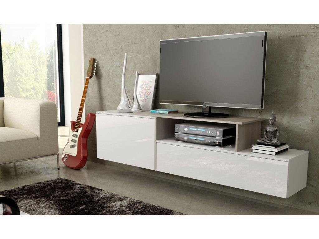 Artcam Závesný TV stolík SIGMA 3 Farba: Biela/biela/sonoma