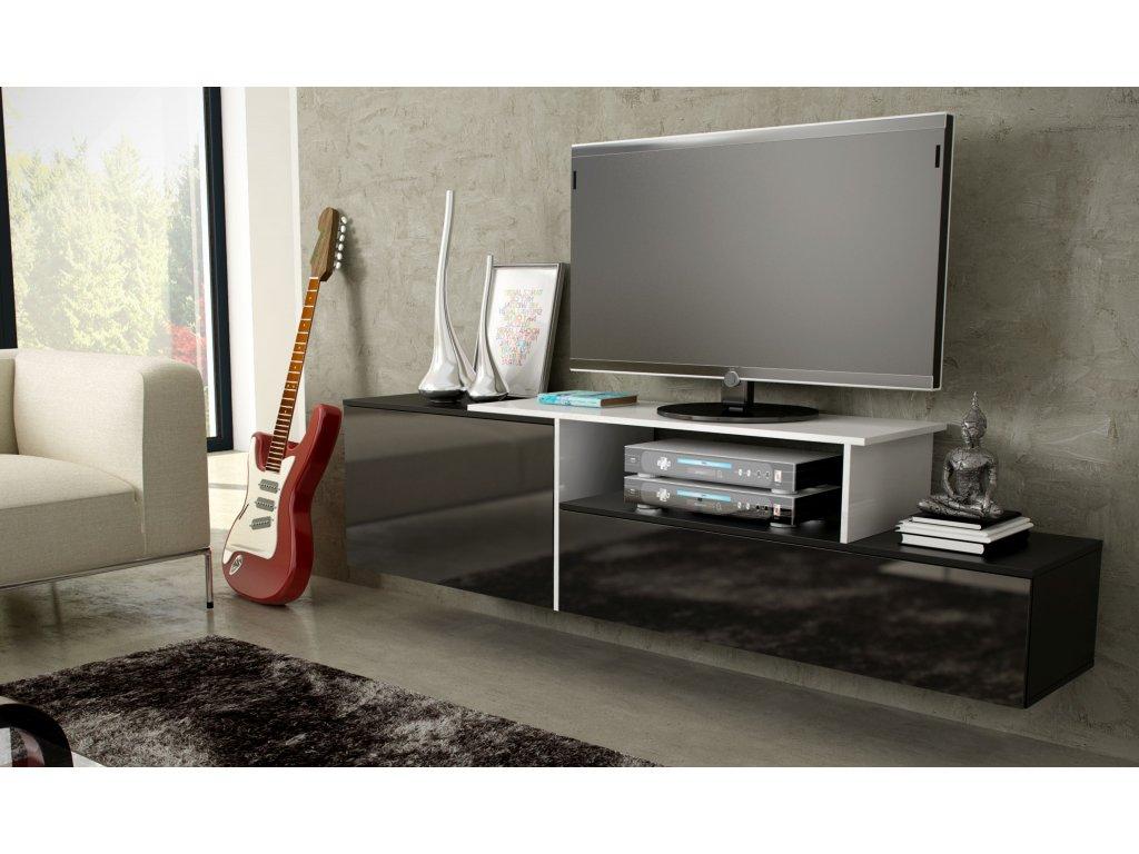 Artcam Závesný TV stolík SIGMA 3 Farba: Čierna/čierna/biela