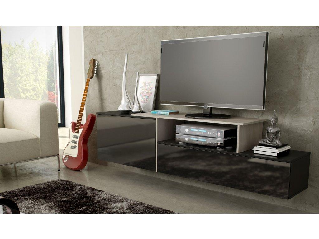 Artcam Závesný TV stolík SIGMA 3 Farba: Čierna/čierna/sonoma