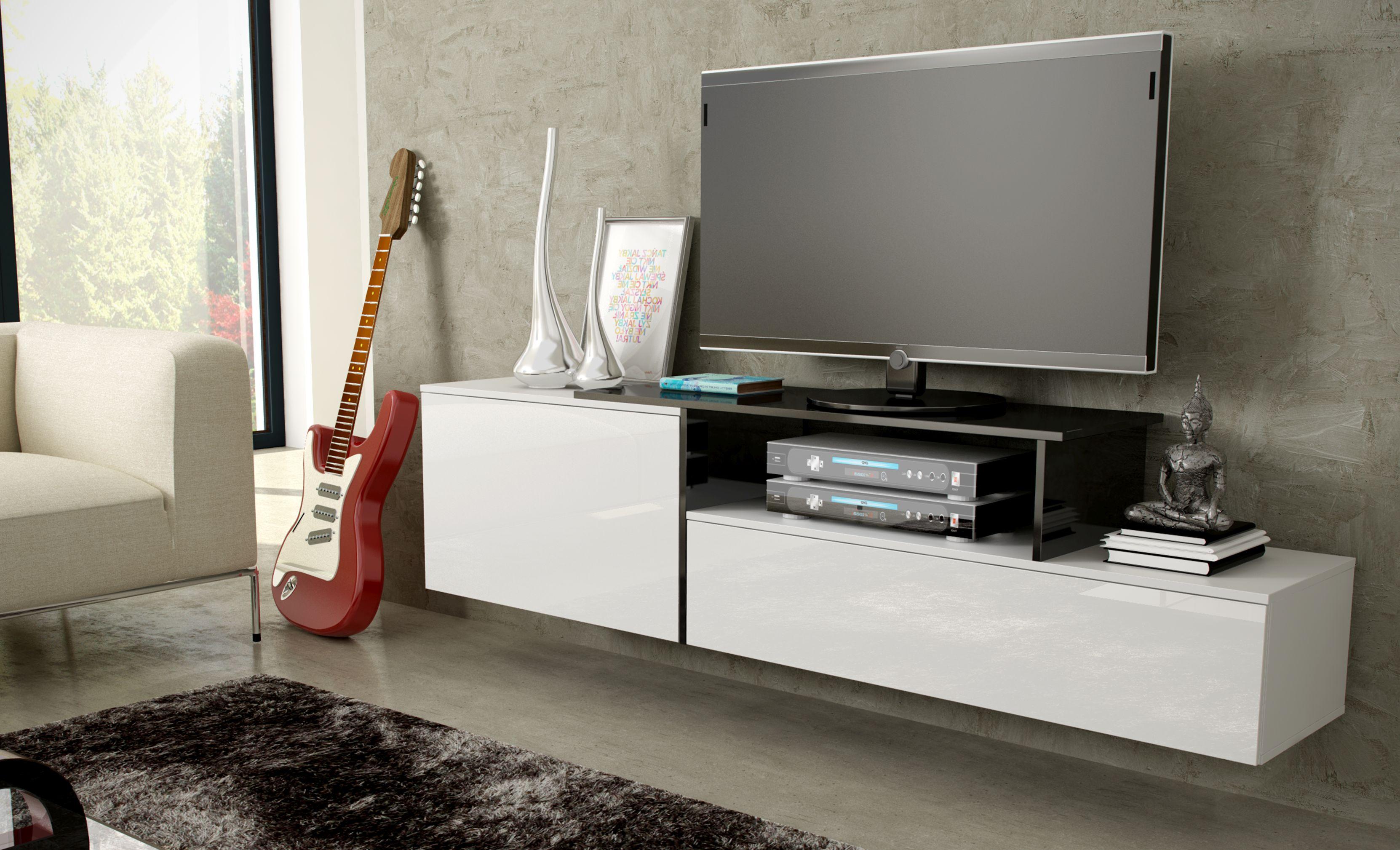 Artcam Závesný TV stolík SIGMA 3 Farba: Biela/biela/čierna