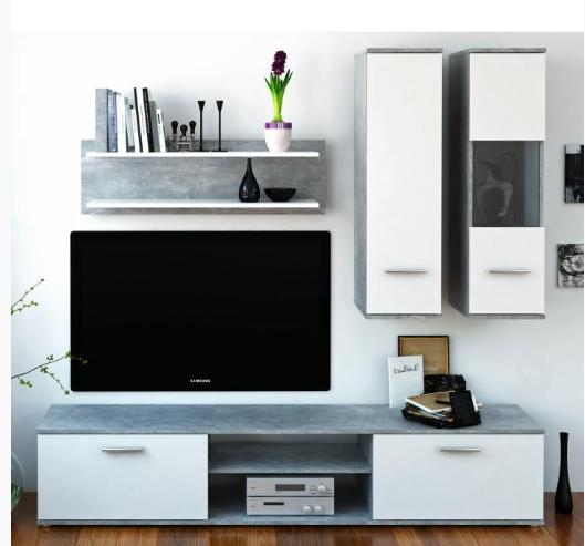 Tempo Kondela Obývacia stena WAW NEW Farba: beton / biela