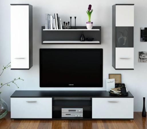 Tempo Kondela Obývacia stena WAW NEW Farba: Čierna / biela