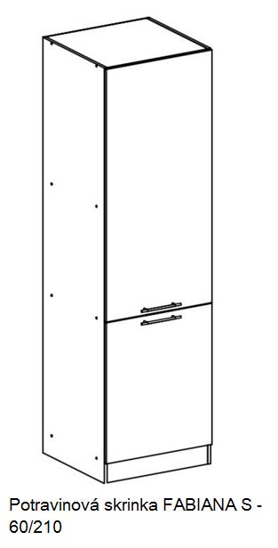 Tempo Kondela Kuchynská linka FABIANA / biela FABIANA: Potravinová skrinka FABIANA S-60/210 / (ŠxVxH) 60x210x58,6 cm