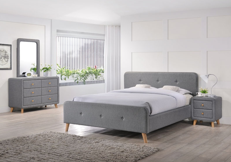 Signal Čalúnená manželská posteľ MALMO Farba: Sivá / 160 x 200 cm