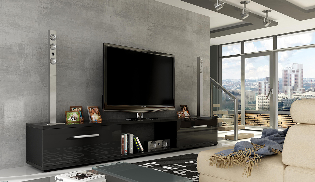 ArtAdr TV stolík ARIDEA / čierna Farba: čierny lesk / Ar3