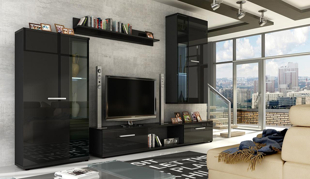 ArtAdr Obývacia stena LEON / čierny lesk