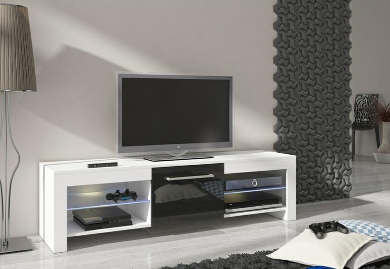 WIP TV STOLÍK FLEX Farba: Biela / čierny lesk