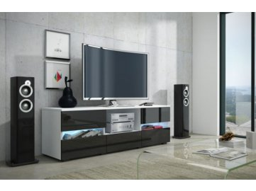WIP Tv stolík Global 2 Farba: biela/čierny lesk