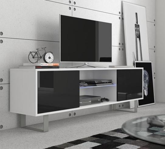 WIP TV stolík King 02 Farba: Biela / čierny lesk