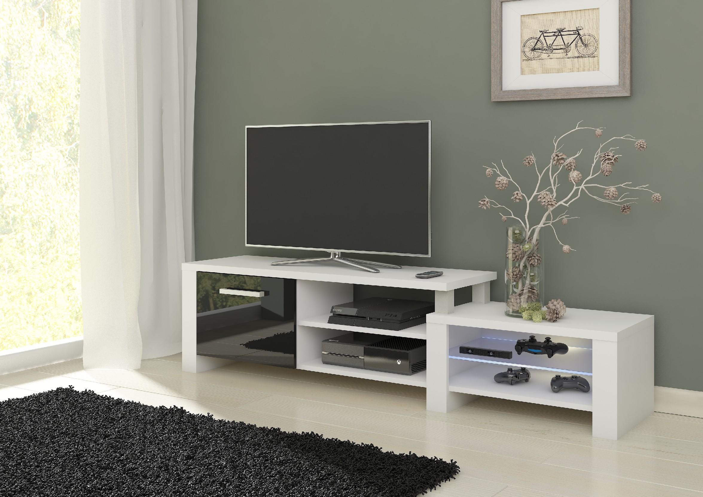 WIP TV stolik Orion Farba: Biela / čierny lesk