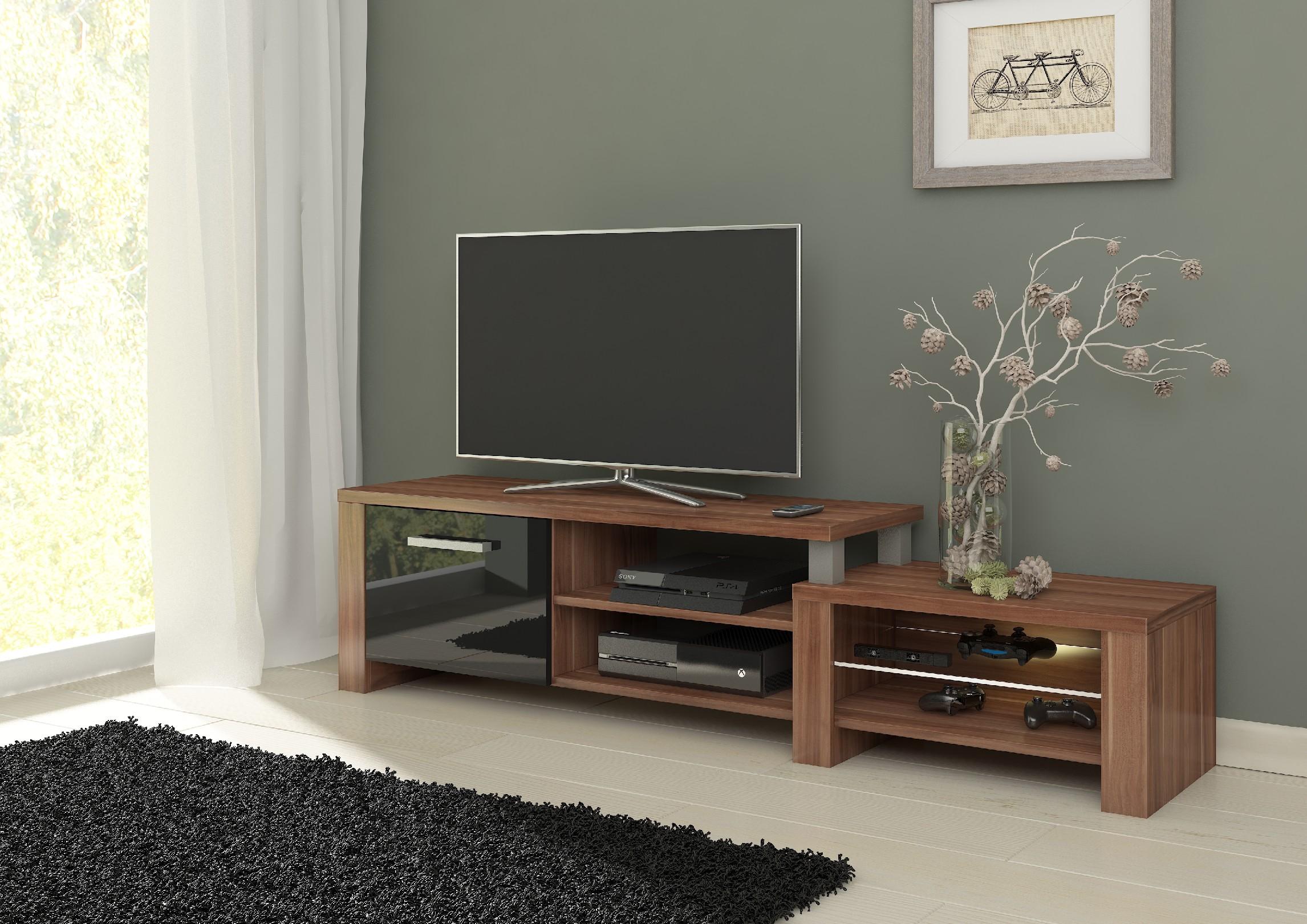 WIP TV stolik Orion Farba: Slivka / čierny lesk
