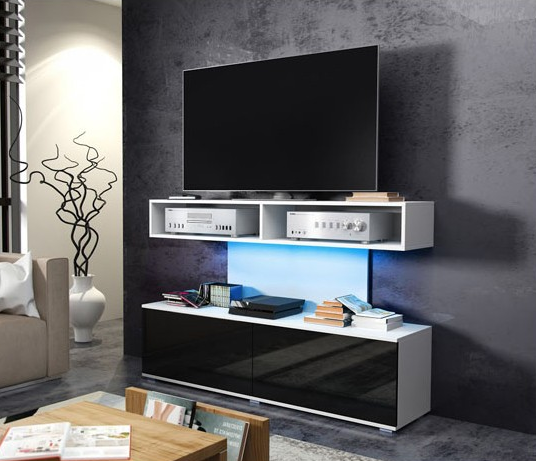 WIP TV STOLÍK REX Farba: Biela / čierny lesk