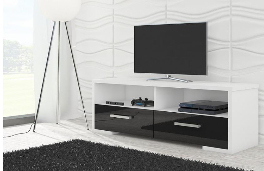 WIP TV STOLÍK ROMA LESK Farba: Biela / čierny lesk