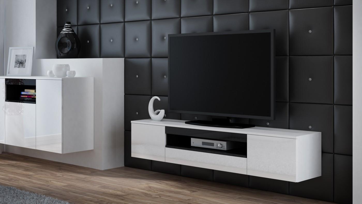 Artcam Závesný TV stolík Viva biela/biely lesk/čierna