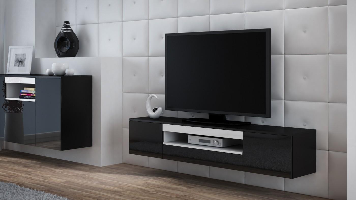 Artcam Závesný TV stolík Viva čierna/čierny lesk/biela