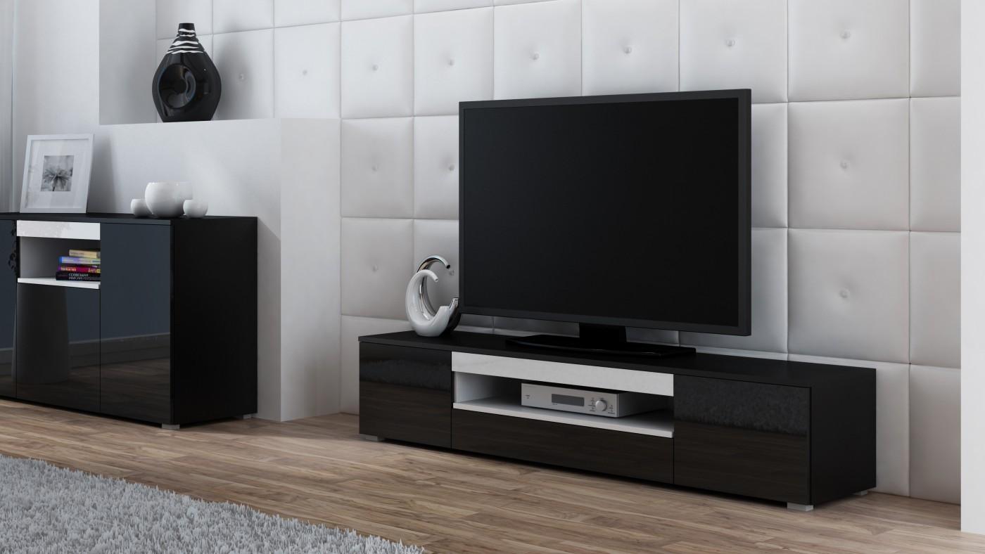Artcam TV stolík Viva čierna/čierny lesk/biela