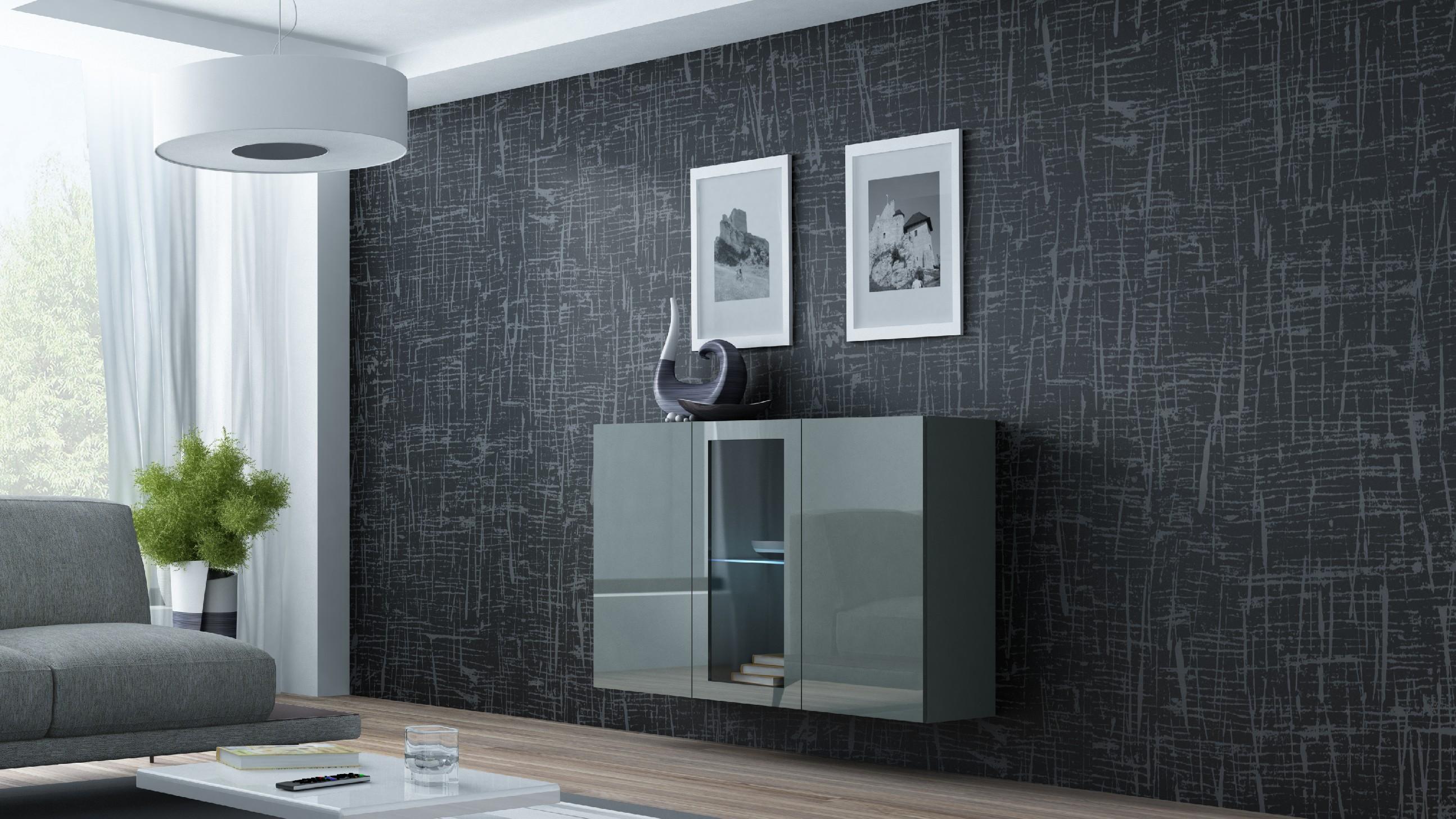 Artcam Komoda VIGO sivá / sivá vysoký lesk
