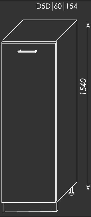 ArtExt Kuchynská linka Quantum Kuchyňa: Spodná skrinka D5D/60/154 / (ŠxVxH) 60 x 154 x 58 cm