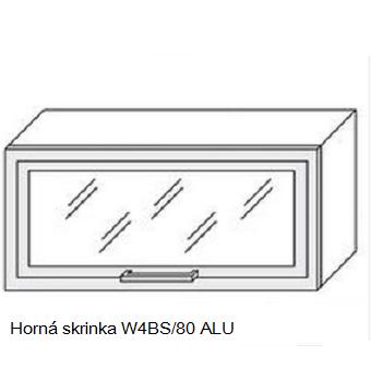 ArtExt Kuchynská linka Quantum Kuchyňa: Horná skrinka W4BS/80 ALU - hliníkový rám skrinky / (ŠxVxH) 80 x 36 x 30 -32,5 cm
