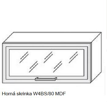 ArtExt Kuchynská linka Quantum Kuchyňa: Horná skrinka W4BS/80 MDF - drevený rám v striebornom morení / (ŠxVxH) 80 x 36 x 30 cm