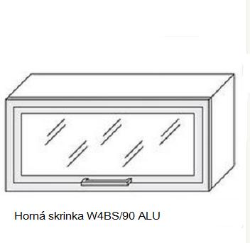 ArtExt Kuchynská linka Quantum Kuchyňa: Horná skrinka W4BS/90 ALU - hliníkový rám skrinky / (ŠxVxH) 90 x 36 x 30 - 32,5 cm