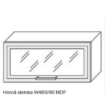 ArtExt Kuchynská linka Quantum Kuchyňa: Horná skrinka W4BS/90 MDF - drevený rám v striebornom morení / (ŠxVxH) 90 x 36 x 30 cm