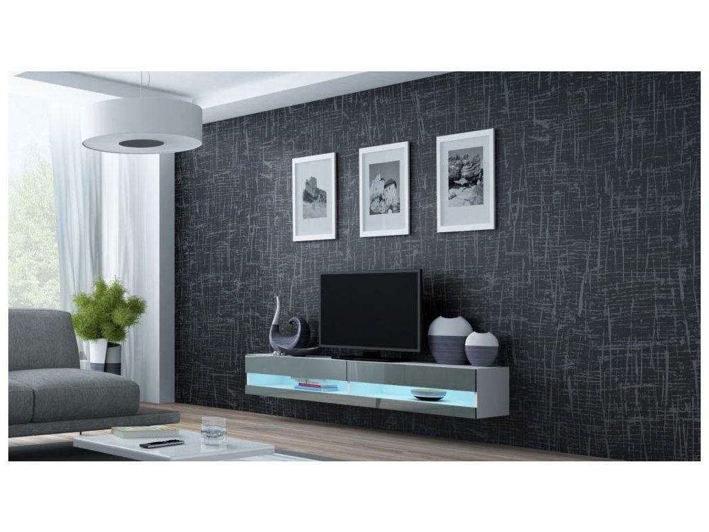 Artcam RTV stolík VIGO NEW Farba: Biela/sivý lesk