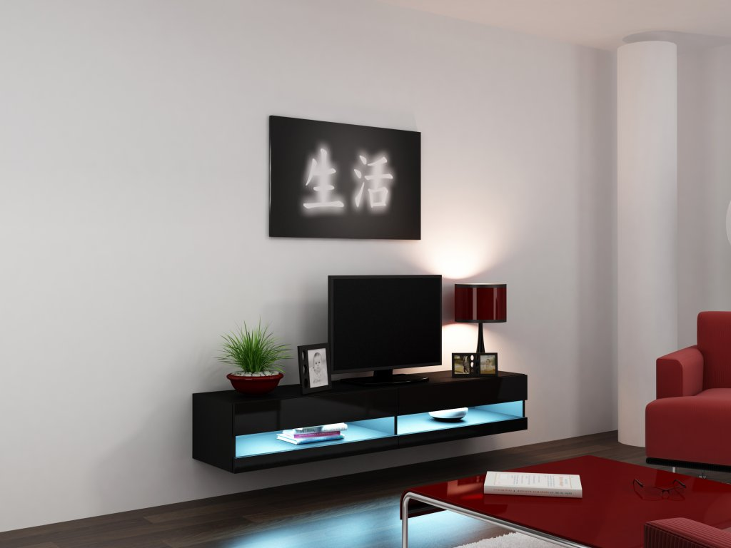 Artcam RTV stolík VIGO NEW Farba: Čierna/čierny lesk