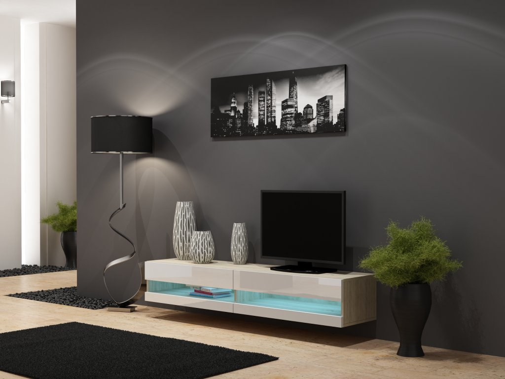 Artcam RTV stolík VIGO NEW Farba: dub sonoma/biely lesk