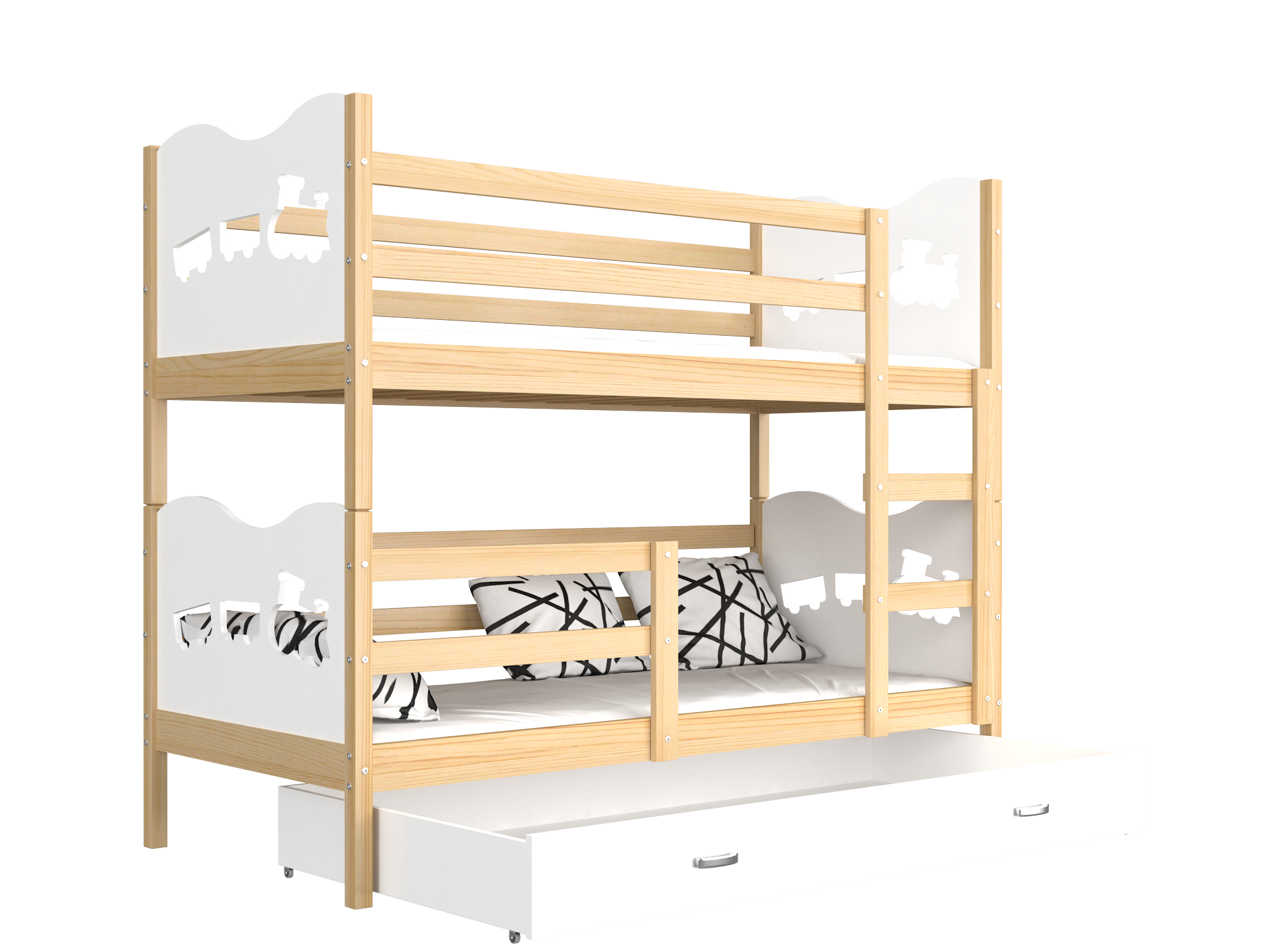 ArtAJ Detská poschodová posteľ MAX drevo / MDF 190 x 80 cm Farba: Borovica / biela 190 x 80 cm, s matracom