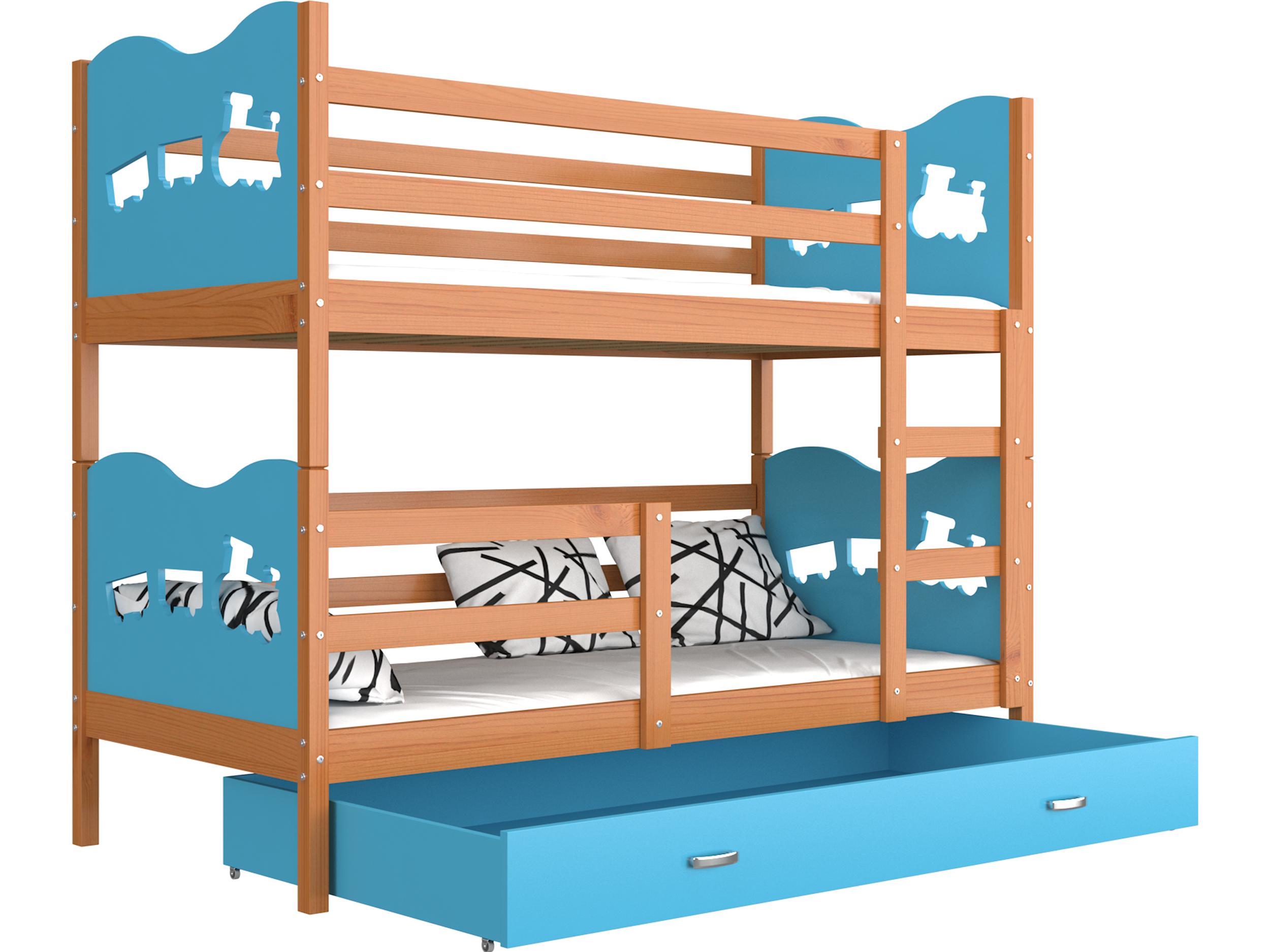 ArtAJ Detská poschodová posteľ MAX drevo / MDF 190 x 80 cm Farba: jelša / modrá 190 x 80 cm, s matracom