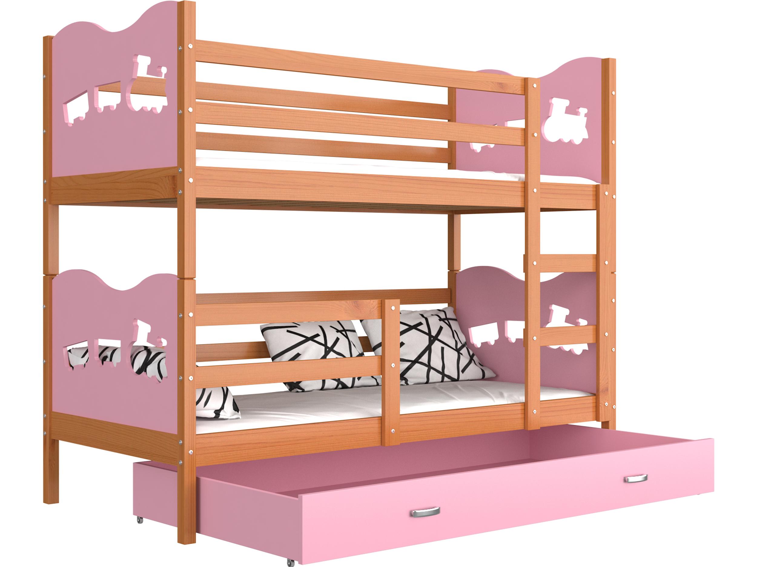 ArtAJ Detská poschodová posteľ MAX drevo / MDF 190 x 80 cm Farba: jelša / ružová 190 x 80 cm, s matracom