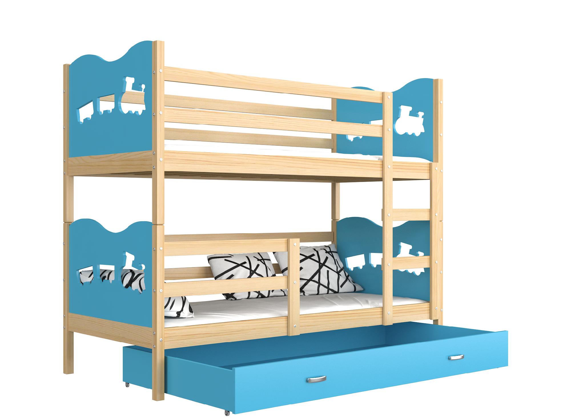 ArtAJ Detská poschodová posteľ MAX drevo / MDF 190 x 80 cm Farba: Borovica / modrá 190 x 80 cm, s matracom