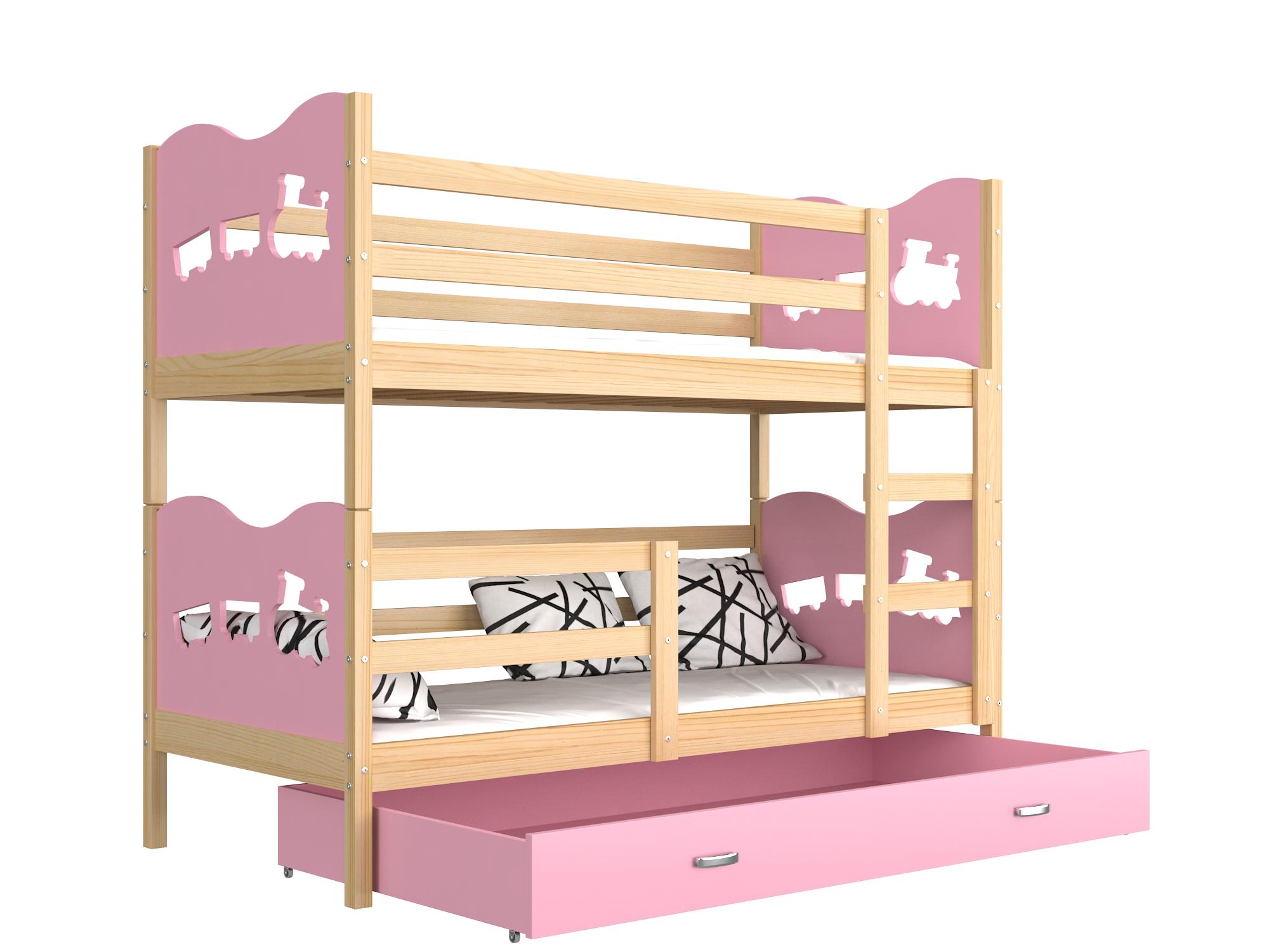 ArtAJ Detská poschodová posteľ MAX drevo / MDF 190 x 80 cm Farba: Borovica / ružová 190 x 80 cm, s matracom