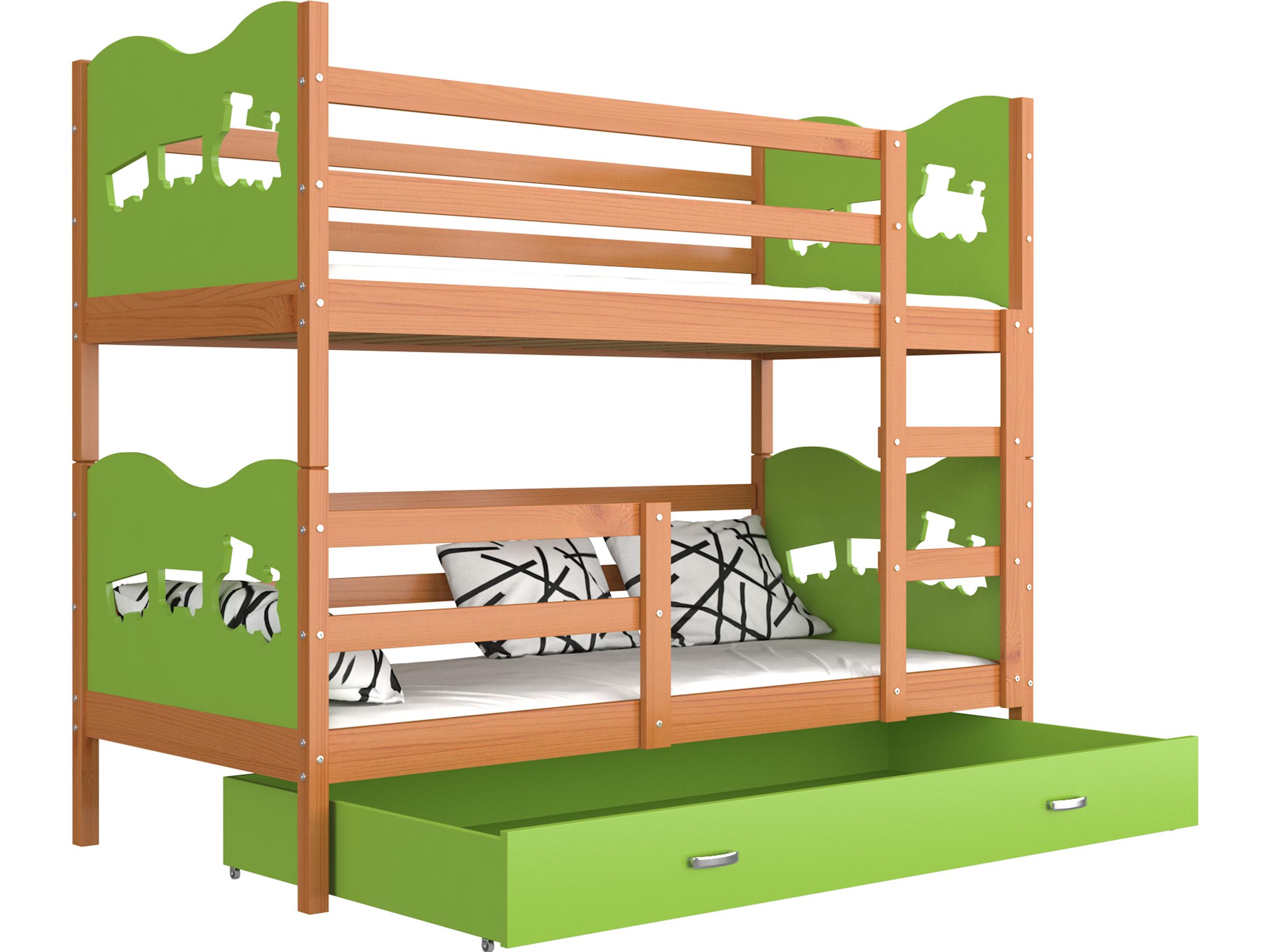 ArtAJ Detská poschodová posteľ MAX drevo / MDF 190 x 80 cm Farba: jelša / zelená 190 x 80 cm, s matracom