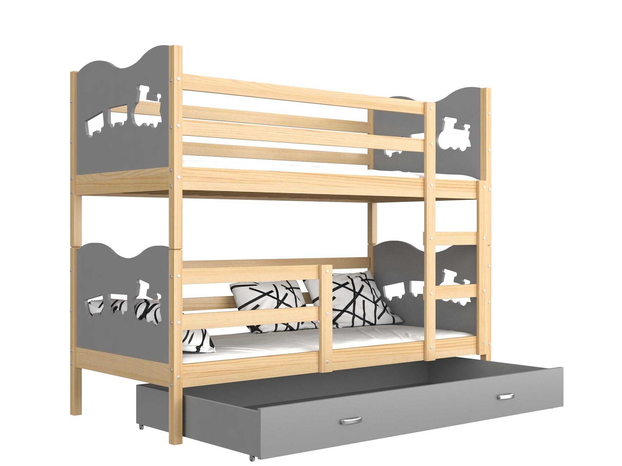 ArtAJ Detská poschodová posteľ MAX drevo / MDF 190 x 80 cm Farba: Borovica / sivá 190 x 80 cm, s matracom