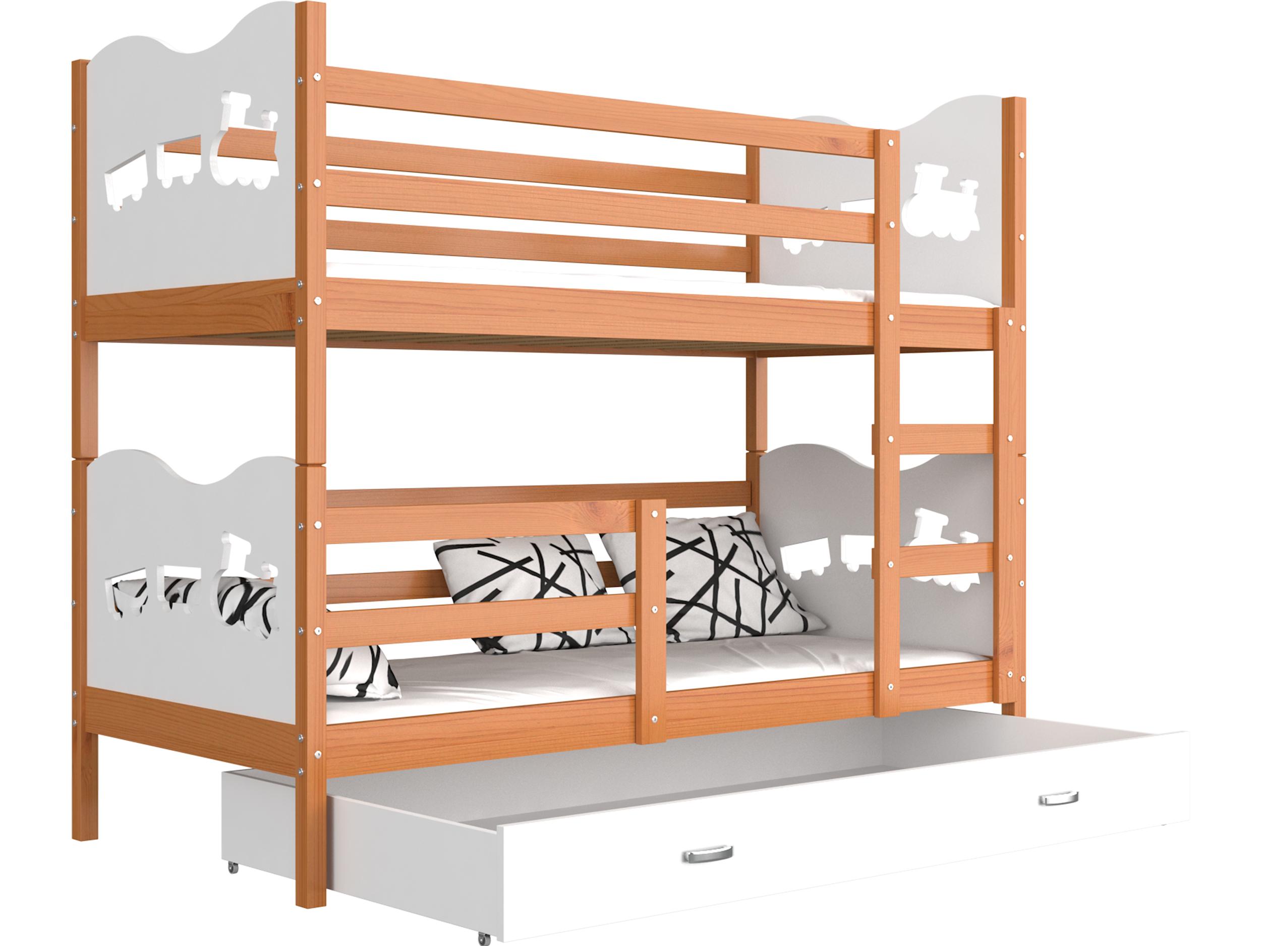 ArtAJ Detská poschodová posteľ MAX drevo / MDF 190 x 80 cm Farba: jelša / biela 190 x 80 cm, s matracom