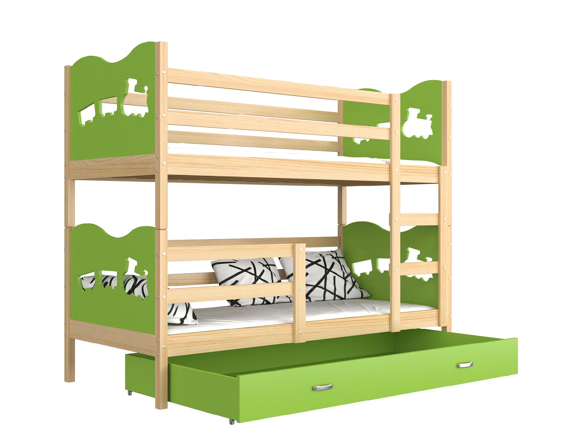 ArtAJ Detská poschodová posteľ MAX drevo / MDF 190 x 80 cm Farba: Borovica / zelená 190 x 80 cm, s matracom