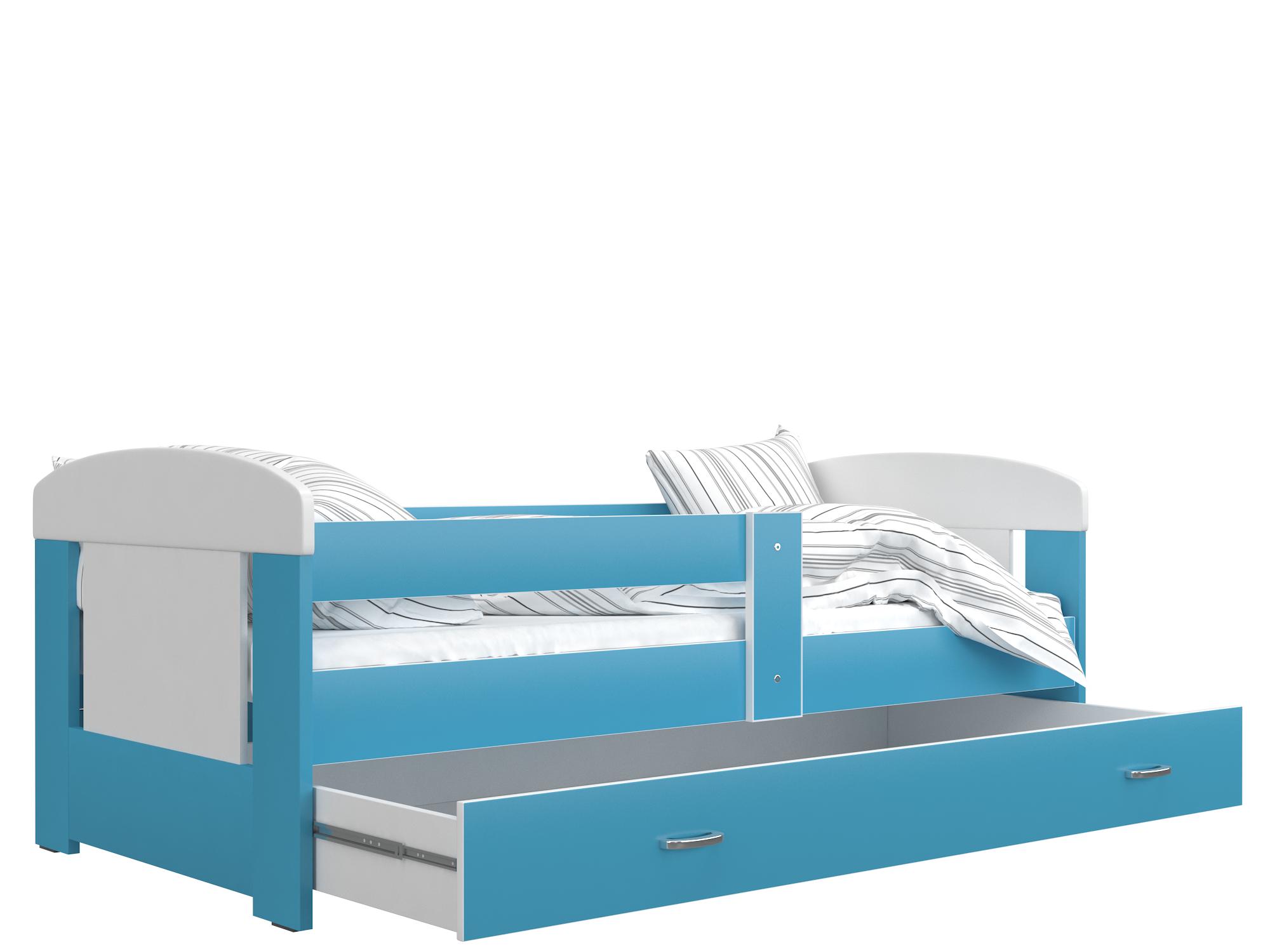 ArtAJ Detská posteľ FILIP COLOR / 160 x 80 cm Farba: biela / blankytná