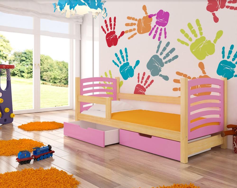 ArtAdr Detská posteľ Camino Farba: Borovica / ružová