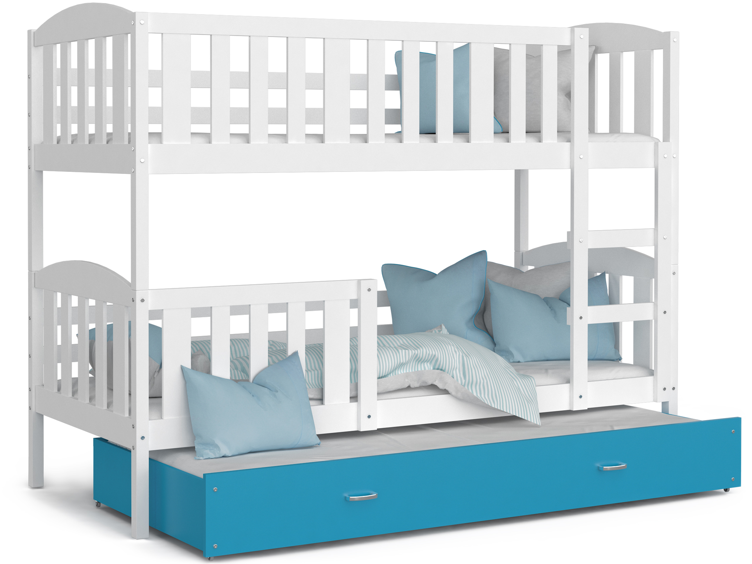 ArtAJ Detská poschodová posteľ Kubuš 3 | 190 x 80 cm Farba: biela / modrá, Prevedenie: bez matraca, Rozmer, materiál: MDF