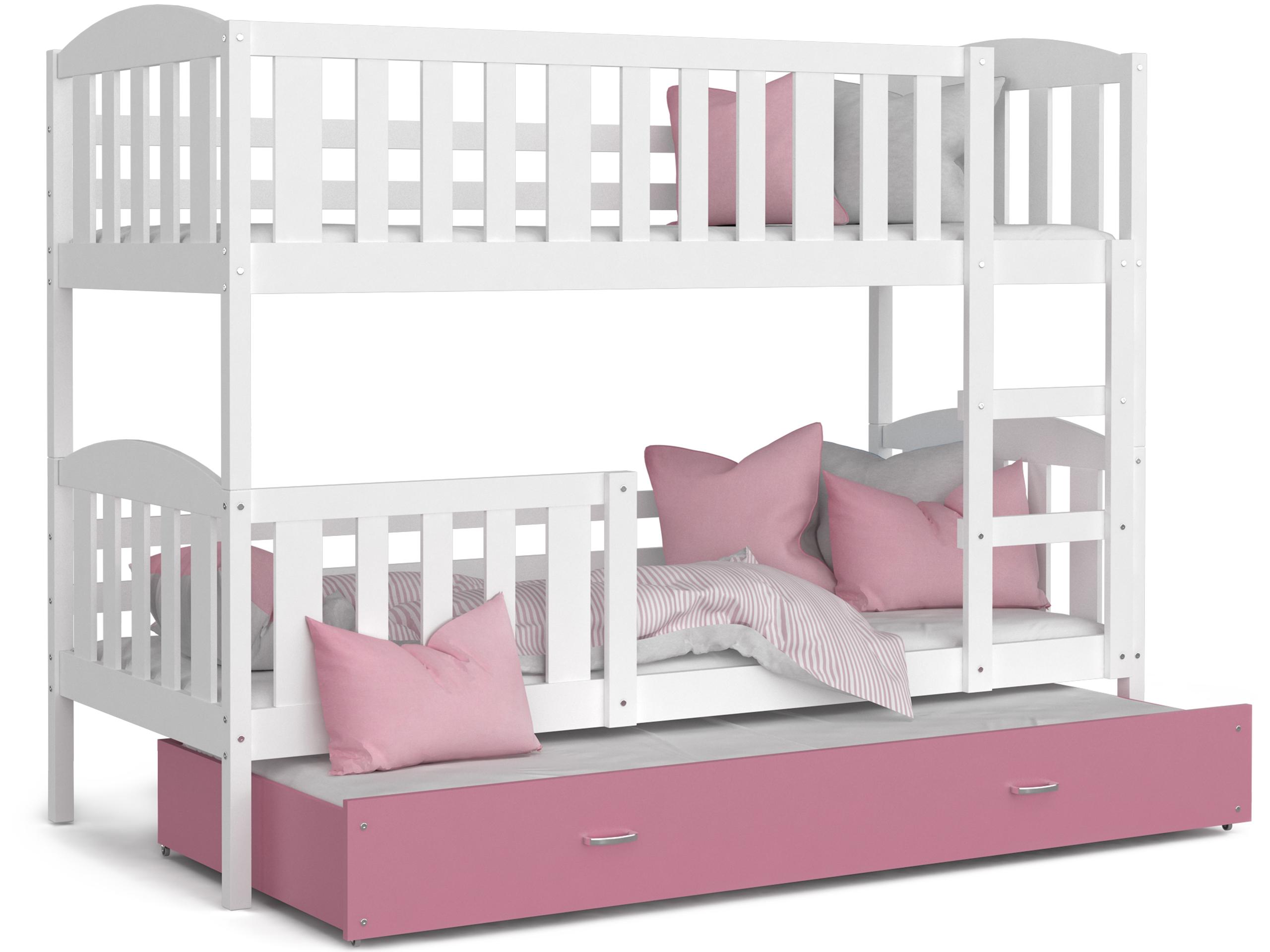ArtAJ Detská poschodová posteľ Kubuš 3 | 190 x 80 cm Farba: biela / ružová, Prevedenie: bez matraca, Rozmer, materiál: MDF
