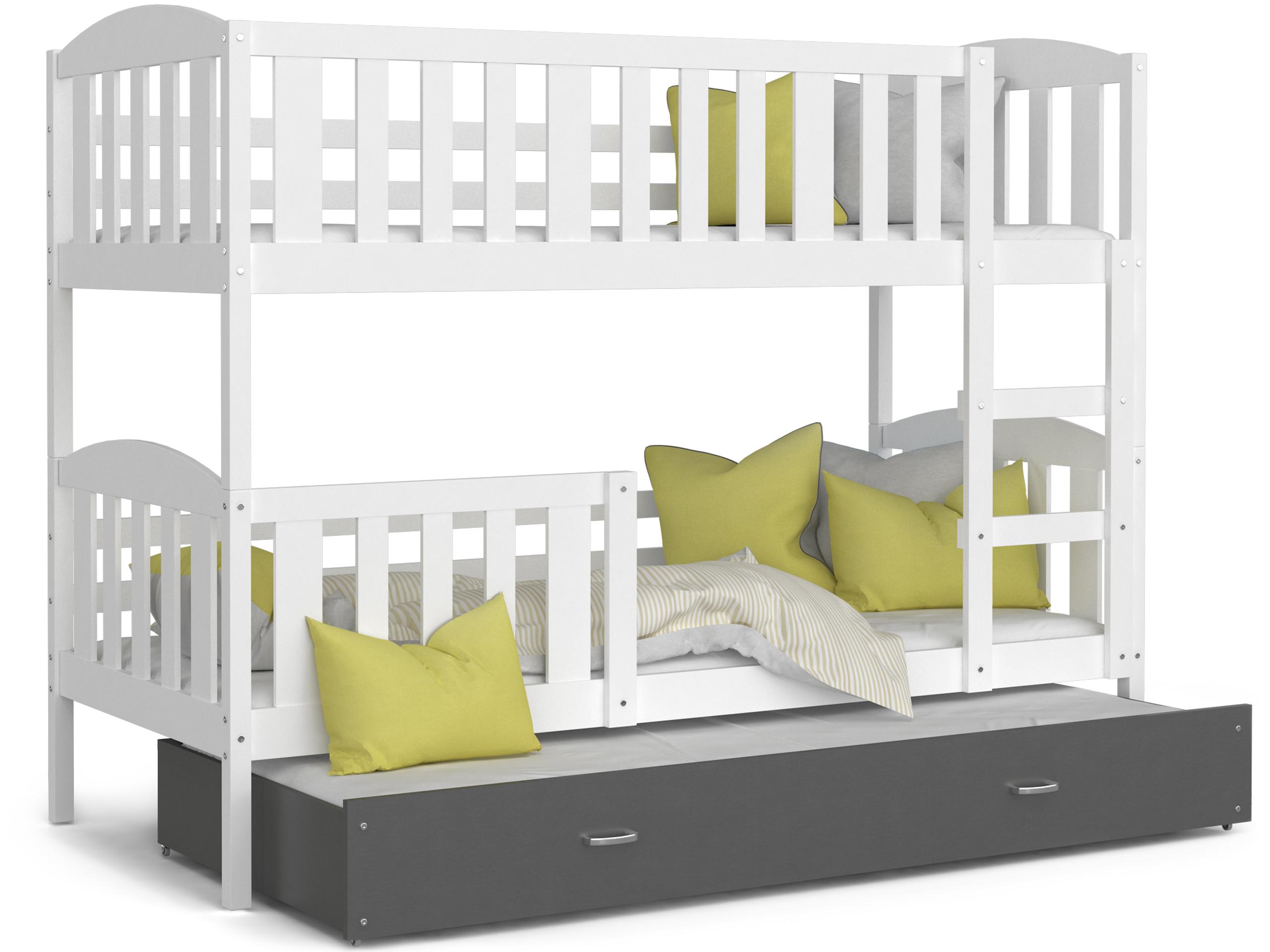 ArtAJ Detská poschodová posteľ Kubuš 3 | 190 x 80 cm Farba: biela / sivá, Prevedenie: bez matraca, Rozmer.: MDF