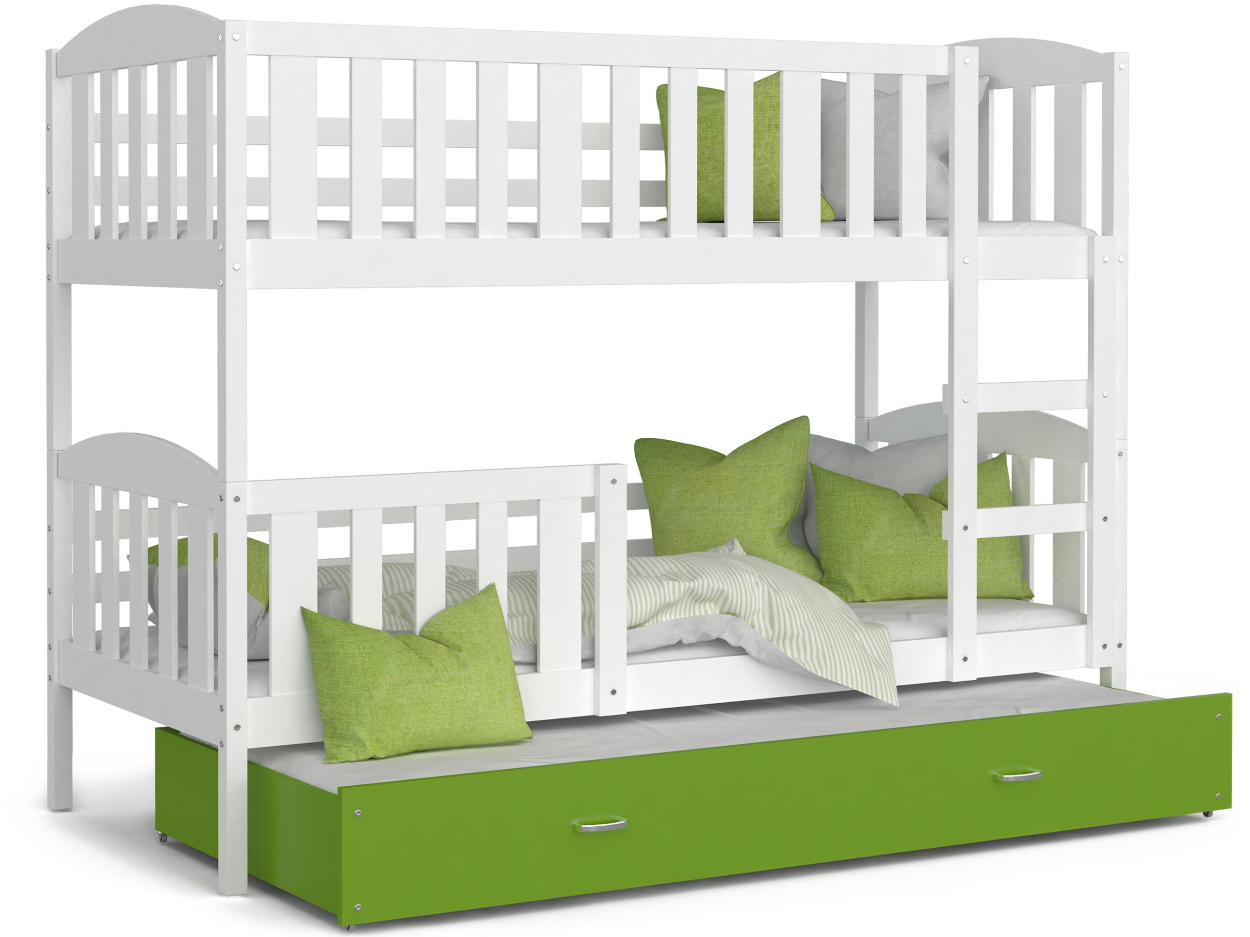 ArtAJ Detská poschodová posteľ Kubuš 3 | 190 x 80 cm Farba: biela / zelená, Prevedenie: bez matraca, Rozmer.: MDF