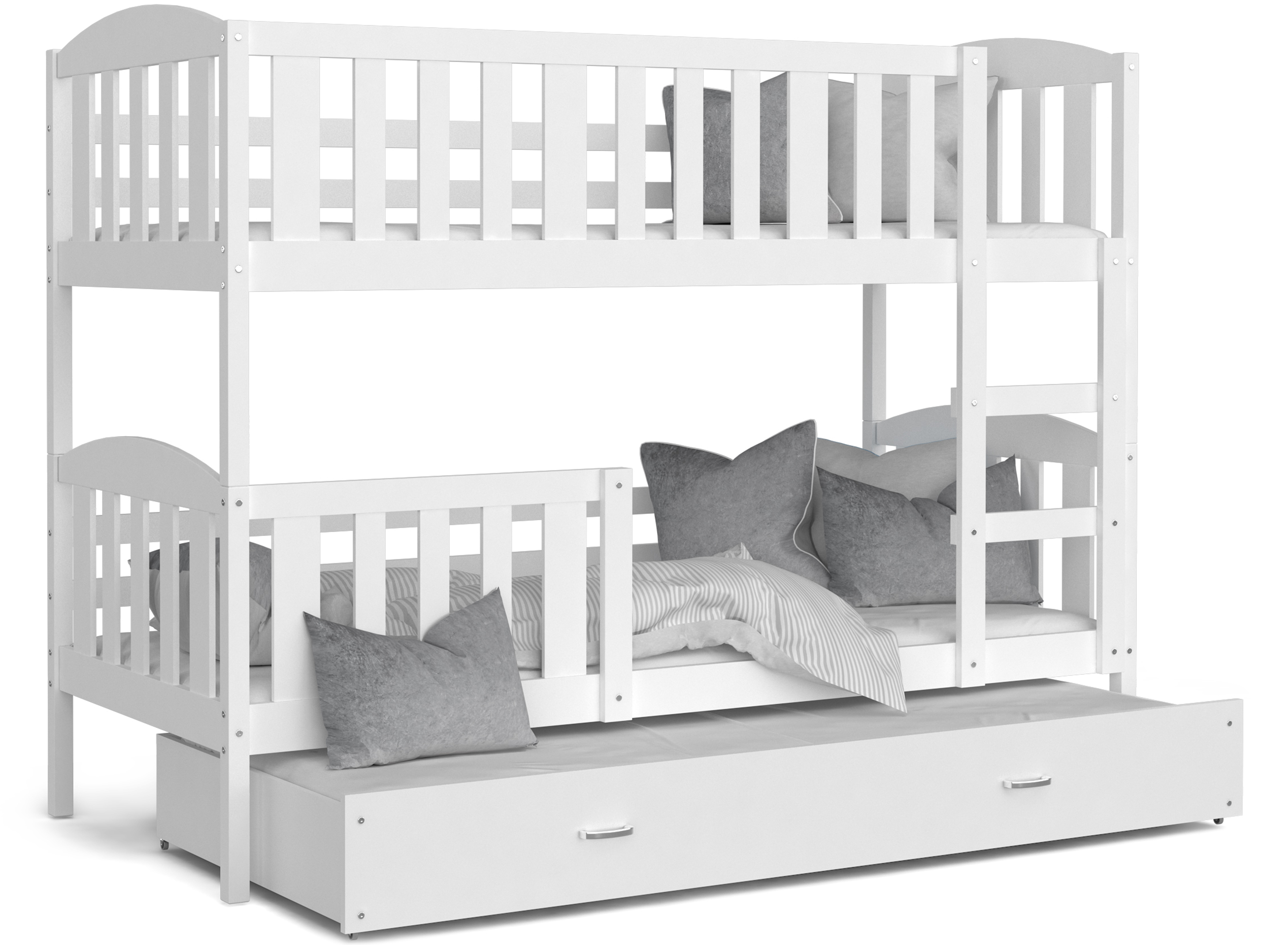 ArtAJ Detská poschodová posteľ Kubuš 3 | 190 x 80 cm Farba: Biela / biela, Prevedenie: bez matraca, Rozmer.: MDF
