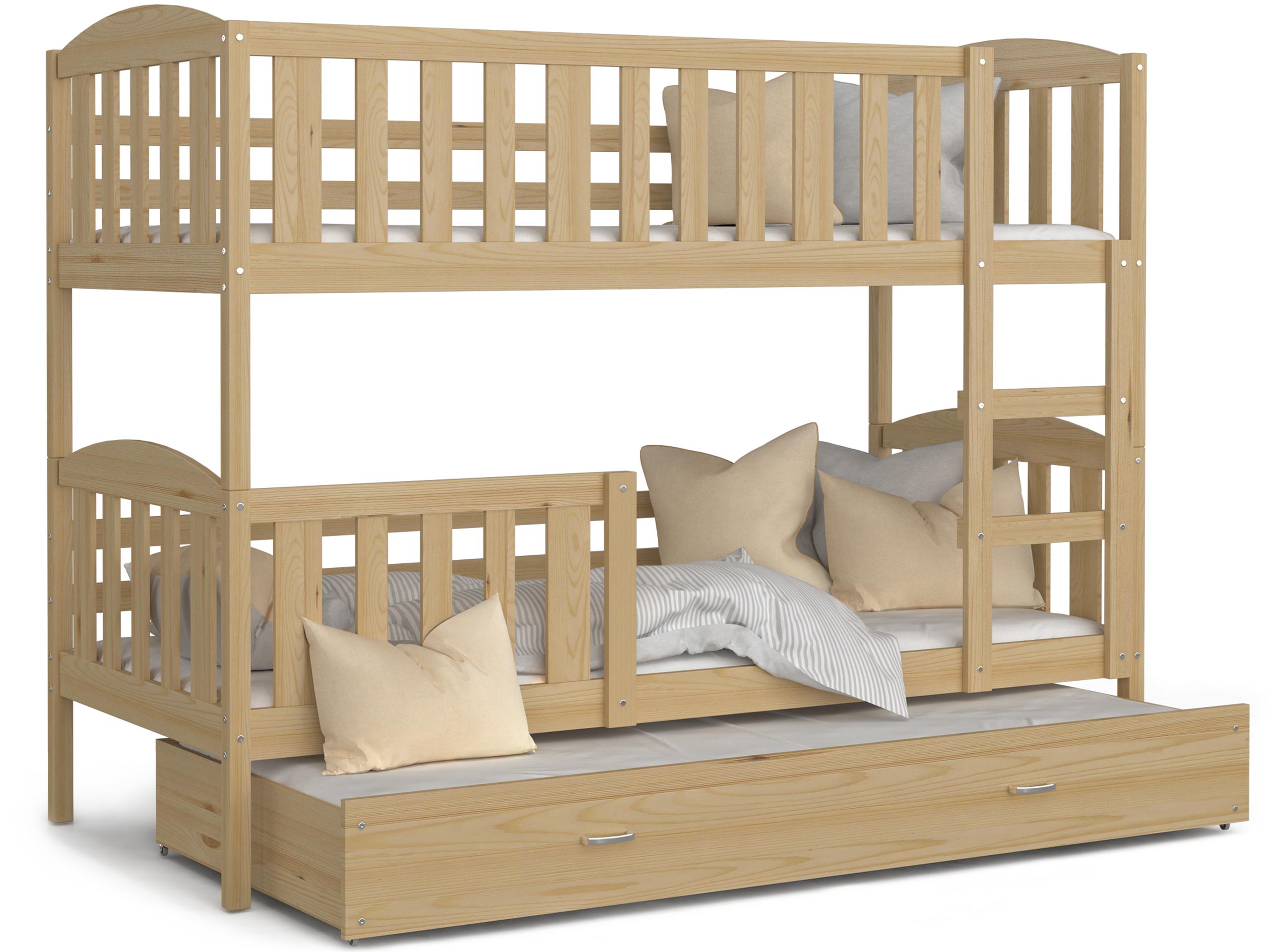 ArtAJ Detská poschodová posteľ Kubuš 3 | 190 x 80 cm Farba: Borovica, Prevedenie: bez matraca, Rozmer.: drevo