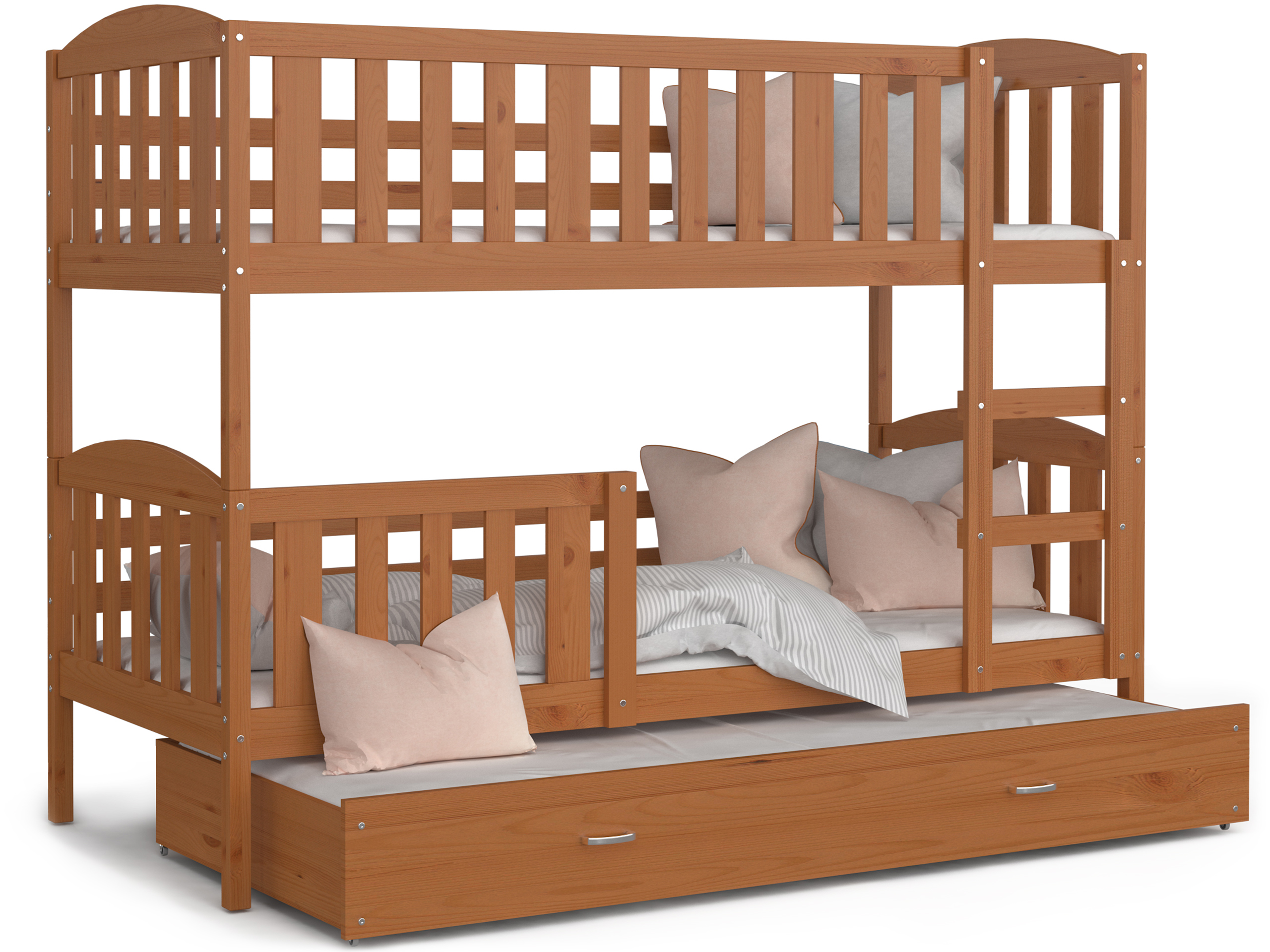ArtAJ Detská poschodová posteľ Kubuš 3 | 190 x 80 cm Farba: Jelša, Prevedenie: bez matraca, Rozmer.: drevo