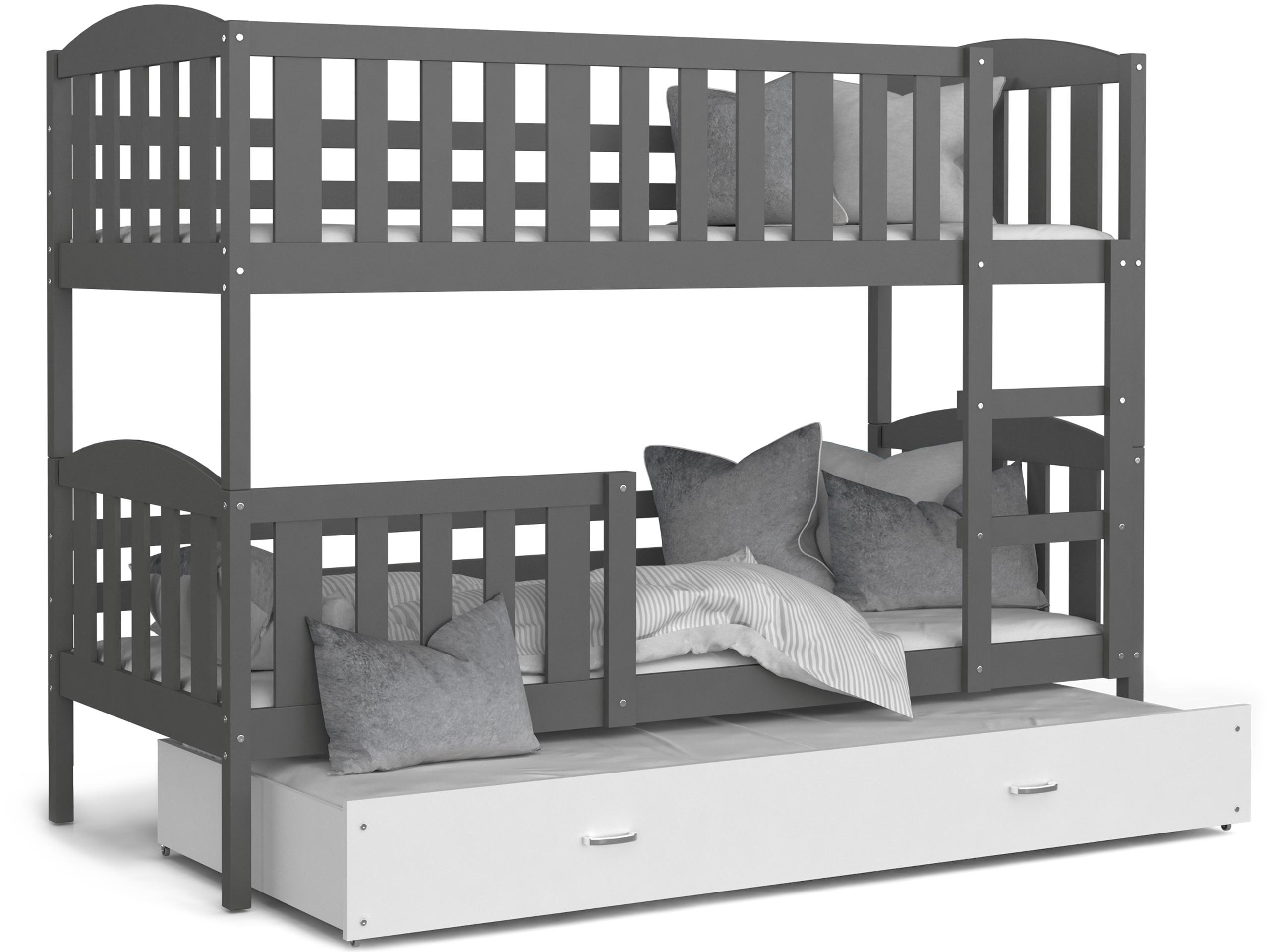 ArtAJ Detská poschodová posteľ Kubuš 3 | 190 x 80 cm Farba: Sivá / biela, Prevedenie: bez matraca, Rozmer.: MDF